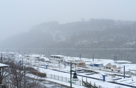 snow at docks