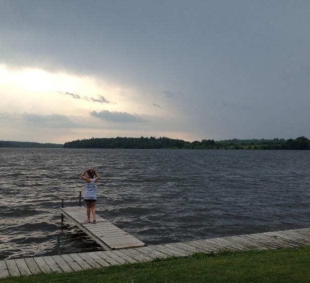 cloudy lake w child