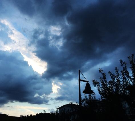 blue stormy skies