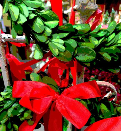 red-bow-and-greens