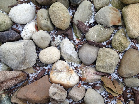 rocks with snowy ice