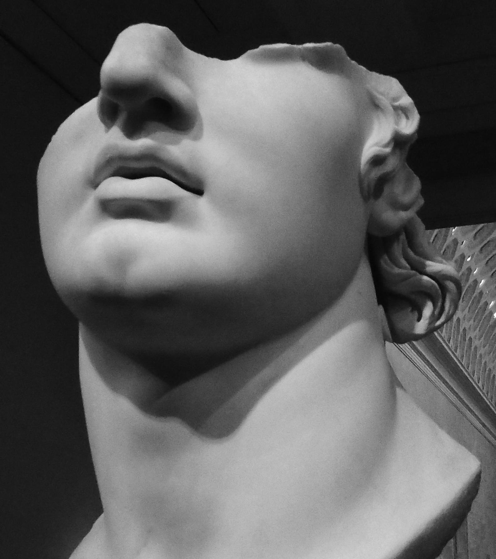 broken face statue blwh